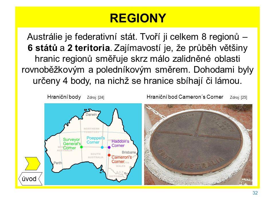 32 REGIONY Austrálie je federativní stát. Tvoří ji celkem 8 regionů – 6 států a 2 teritoria.