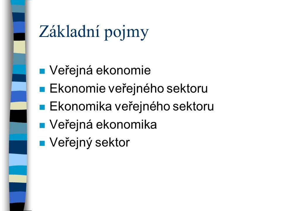 Základní pojmy n Veřejná ekonomie n Ekonomie veřejného sektoru n Ekonomika veřejného sektoru n Veřejná ekonomika n Veřejný sektor