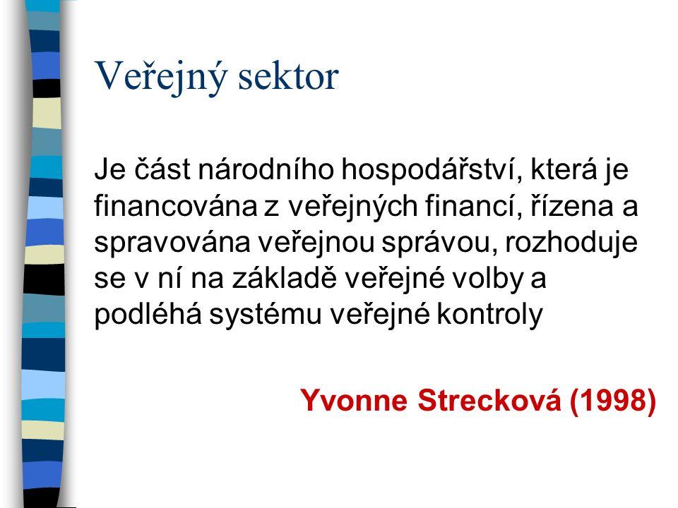 Veřejný sektor Je část národního hospodářství, která je financována z veřejných financí, řízena a spravována veřejnou správou, rozhoduje se v ní na základě veřejné volby a podléhá systému veřejné kontroly Yvonne Strecková (1998)