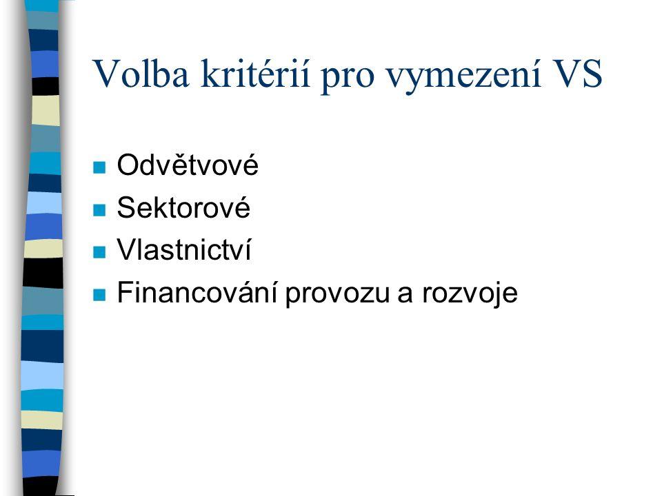 Volba kritérií pro vymezení VS n Odvětvové n Sektorové n Vlastnictví n Financování provozu a rozvoje