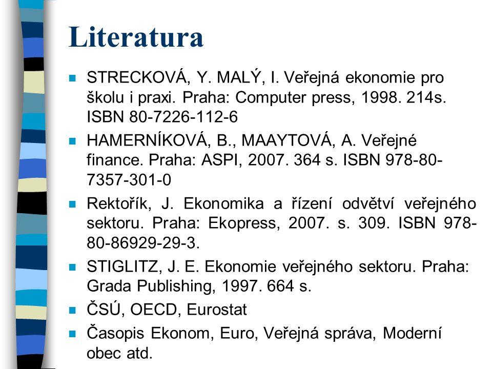 Literatura n STRECKOVÁ, Y. MALÝ, I. Veřejná ekonomie pro školu i praxi.