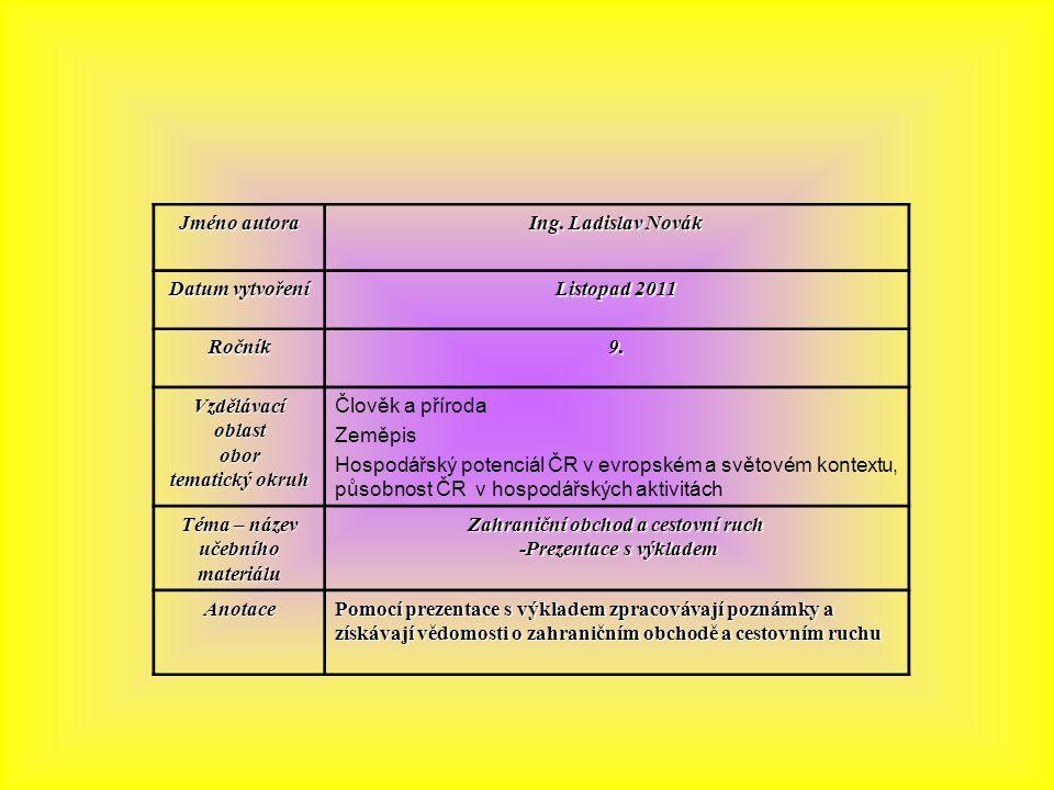 Jméno autora Ing. Ladislav Novák Datum vytvoření Listopad 2011 Ročník9.