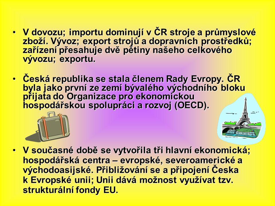 V dovozu; importu dominují v ČR stroje a průmyslové zboží.