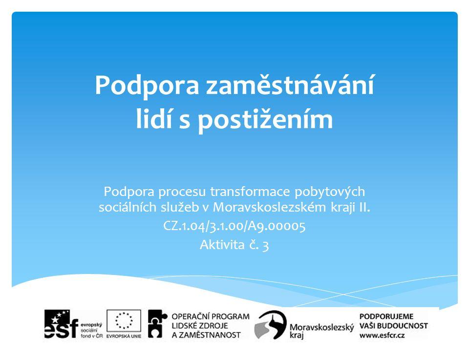 Podpora zaměstnávání lidí s postižením Podpora procesu transformace pobytových sociálních služeb v Moravskoslezském kraji II.