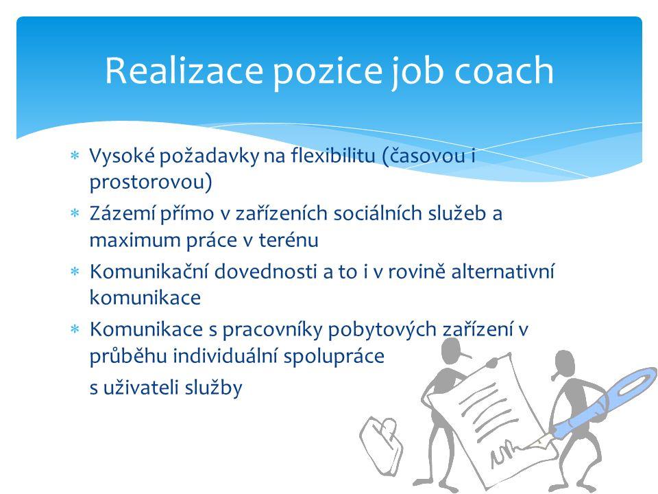 Vysoké požadavky na flexibilitu (časovou i prostorovou)  Zázemí přímo v zařízeních sociálních služeb a maximum práce v terénu  Komunikační dovednosti a to i v rovině alternativní komunikace  Komunikace s pracovníky pobytových zařízení v průběhu individuální spolupráce s uživateli služby Realizace pozice job coach