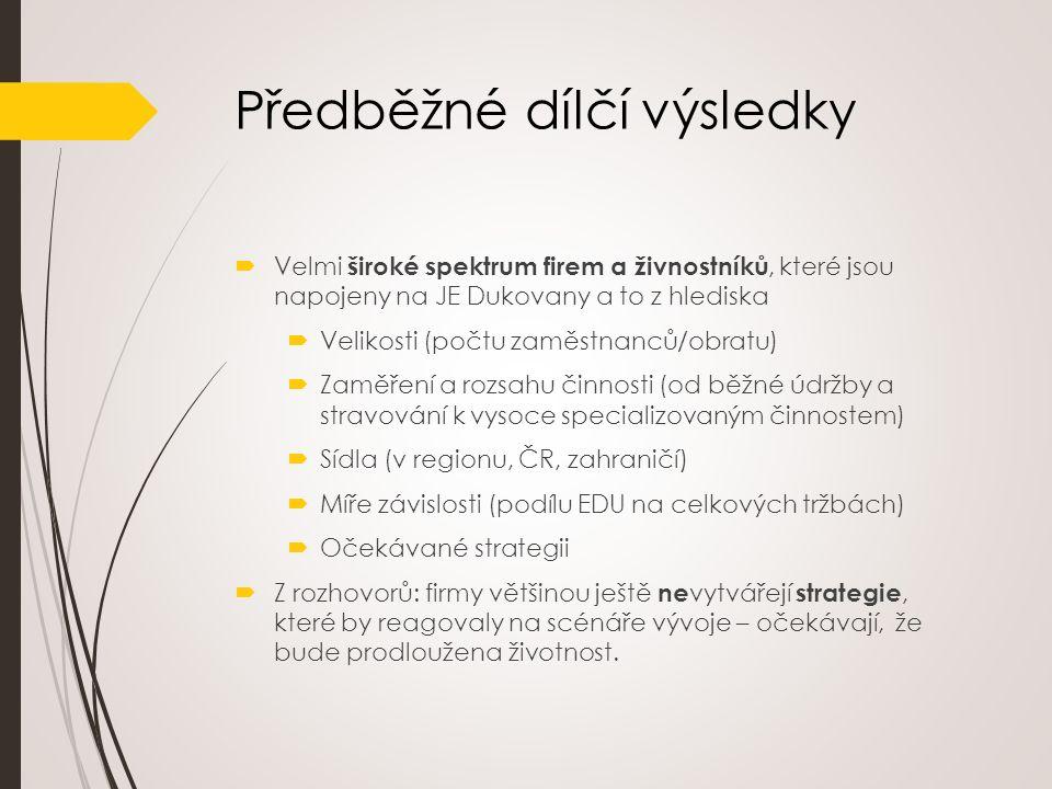 Předběžné dílčí výsledky  Velmi široké spektrum firem a živnostníků, které jsou napojeny na JE Dukovany a to z hlediska  Velikosti (počtu zaměstnanc