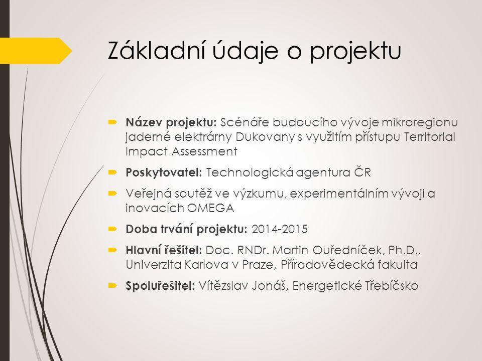 Představení projektu Cílem projektu je vytvořit tři scénáře vývoje spádového regionu JE Dukovany zaměřené na dopady v sociálním a ekonomickém prostředí zohledňující: (i) odstavení JE Dukovany (ii) zachování stávajícího výkonu (iii) vybudování 5.