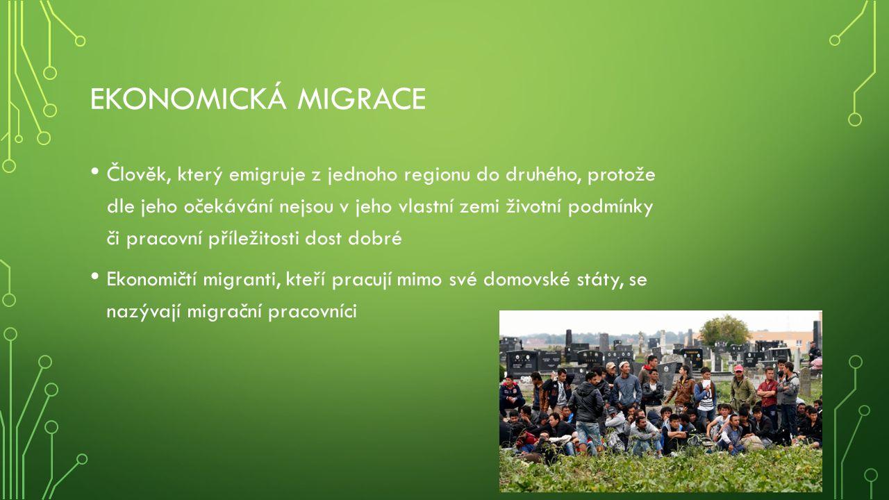 EKONOMICKÁ MIGRACE Člověk, který emigruje z jednoho regionu do druhého, protože dle jeho očekávání nejsou v jeho vlastní zemi životní podmínky či pracovní příležitosti dost dobré Ekonomičtí migranti, kteří pracují mimo své domovské státy, se nazývají migrační pracovníci