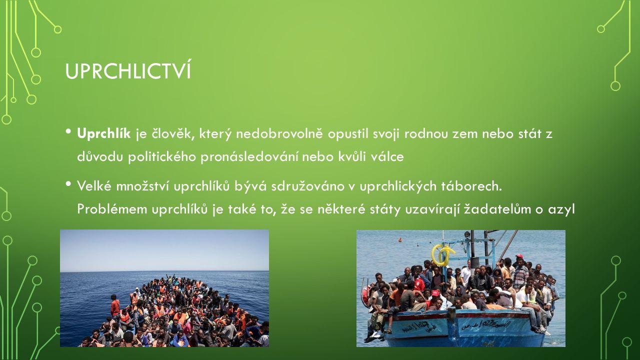 UPRCHLICTVÍ Uprchlík je člověk, který nedobrovolně opustil svoji rodnou zem nebo stát z důvodu politického pronásledování nebo kvůli válce Velké množství uprchlíků bývá sdružováno v uprchlických táborech.