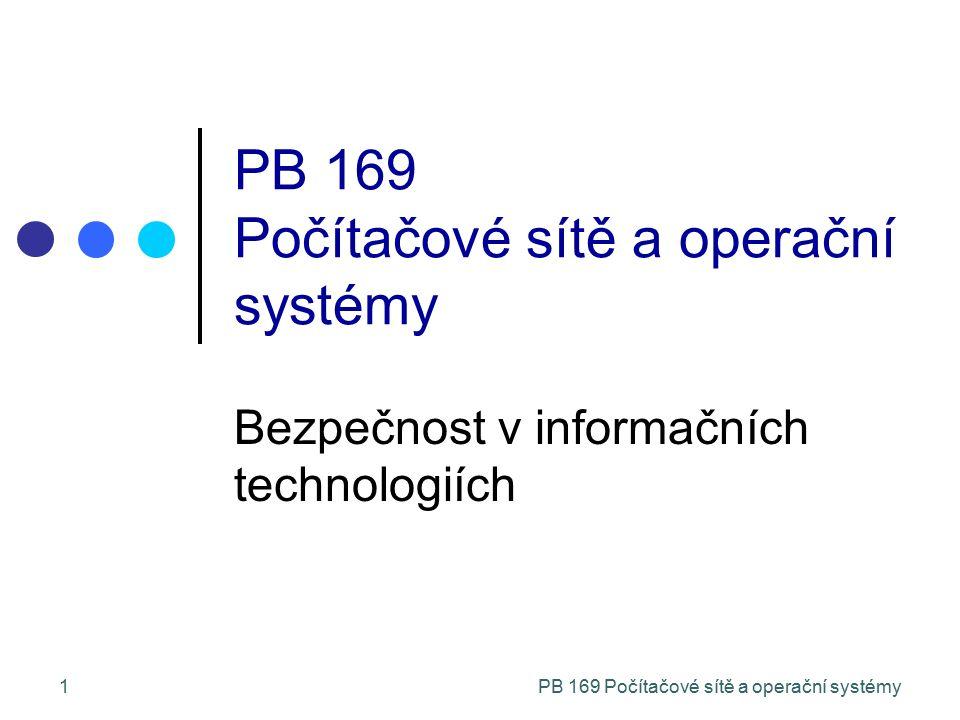 PB 169 Počítačové sítě a operační systémy1 Bezpečnost v informačních technologiích PB 169 Počítačové sítě a operační systémy