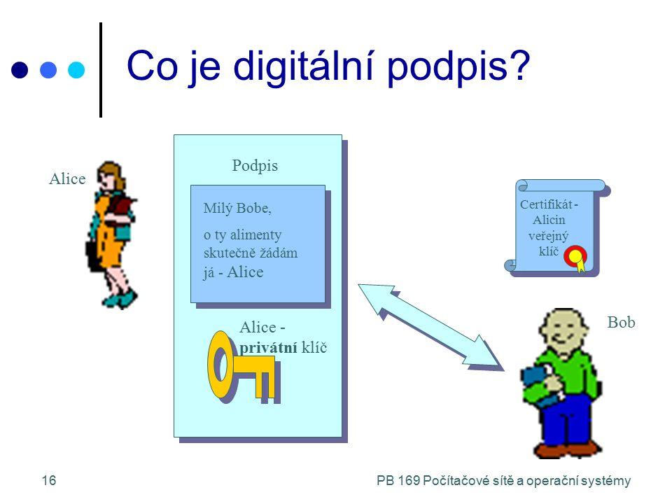 PB 169 Počítačové sítě a operační systémy16 Alice Podpis Co je digitální podpis? Milý Bobe, o ty alimenty skutečně žádám já - Alice Alice - privátní k