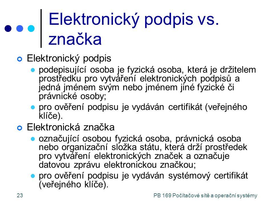 PB 169 Počítačové sítě a operační systémy23 Elektronický podpis vs. značka Elektronický podpis podepisující osoba je fyzická osoba, která je držitelem