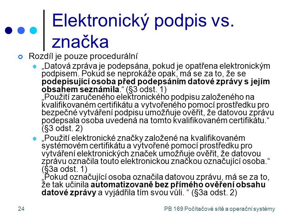 """PB 169 Počítačové sítě a operační systémy24 Elektronický podpis vs. značka Rozdíl je pouze procedurální """"Datová zpráva je podepsána, pokud je opatřena"""