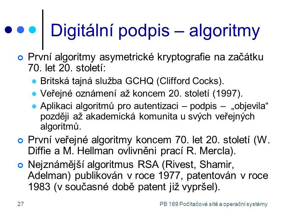 PB 169 Počítačové sítě a operační systémy27 Digitální podpis – algoritmy První algoritmy asymetrické kryptografie na začátku 70. let 20. století: Brit