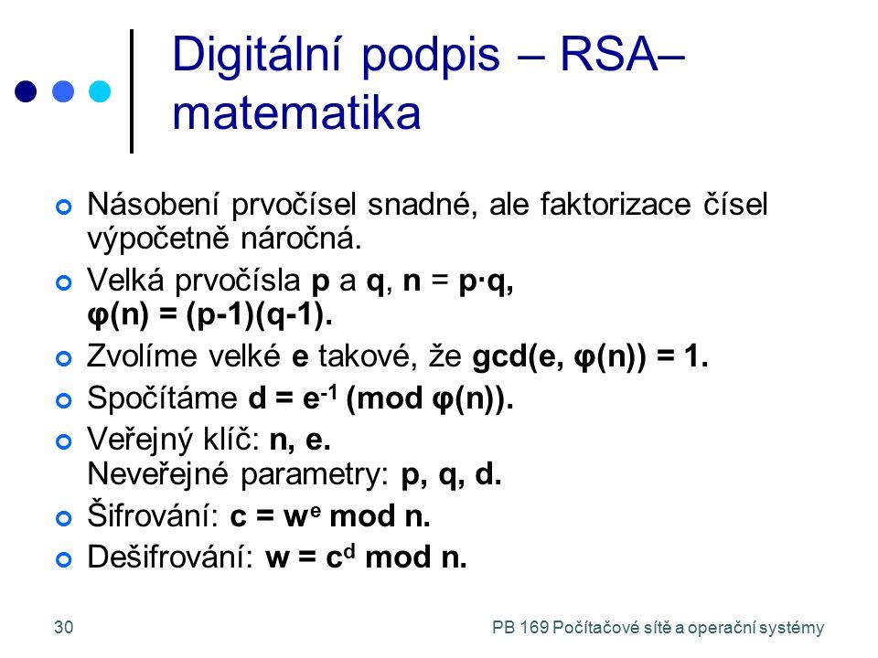 PB 169 Počítačové sítě a operační systémy30 Digitální podpis – RSA– matematika Násobení prvočísel snadné, ale faktorizace čísel výpočetně náročná. Vel