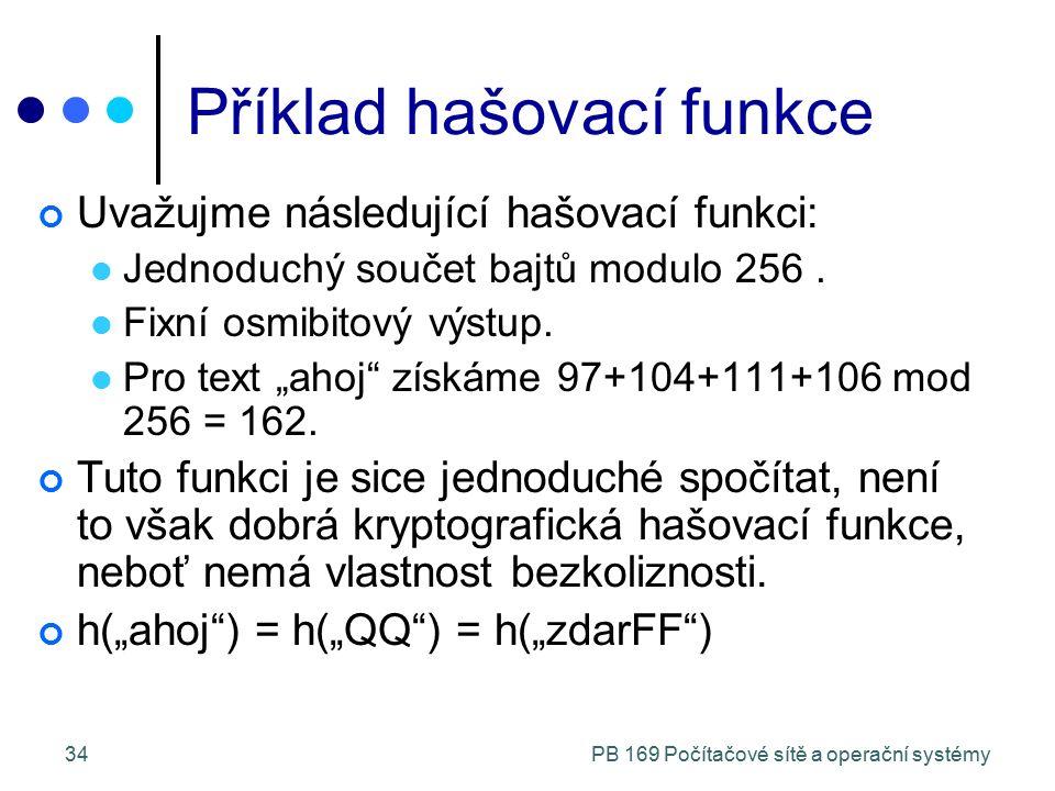 PB 169 Počítačové sítě a operační systémy34 Příklad hašovací funkce Uvažujme následující hašovací funkci: Jednoduchý součet bajtů modulo 256.