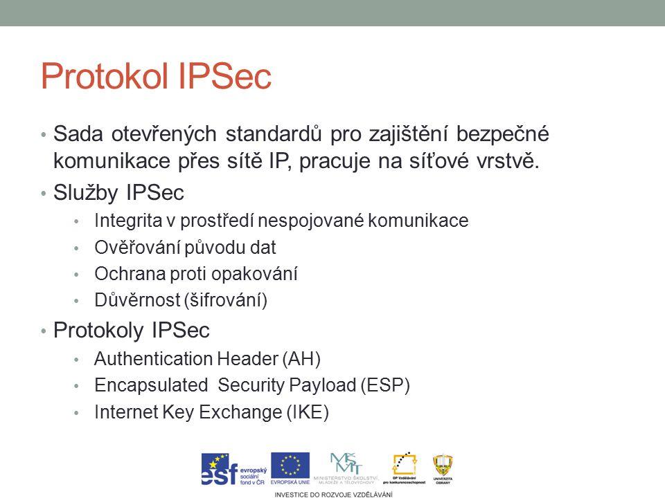 Protokol IPSec Sada otevřených standardů pro zajištění bezpečné komunikace přes sítě IP, pracuje na síťové vrstvě.