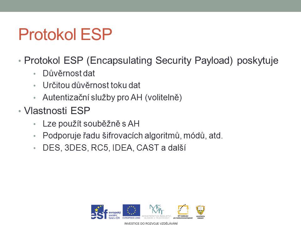 Protokol ESP Protokol ESP (Encapsulating Security Payload) poskytuje Důvěrnost dat Určitou důvěrnost toku dat Autentizační služby pro AH (volitelně) Vlastnosti ESP Lze použít souběžně s AH Podporuje řadu šifrovacích algoritmů, módů, atd.