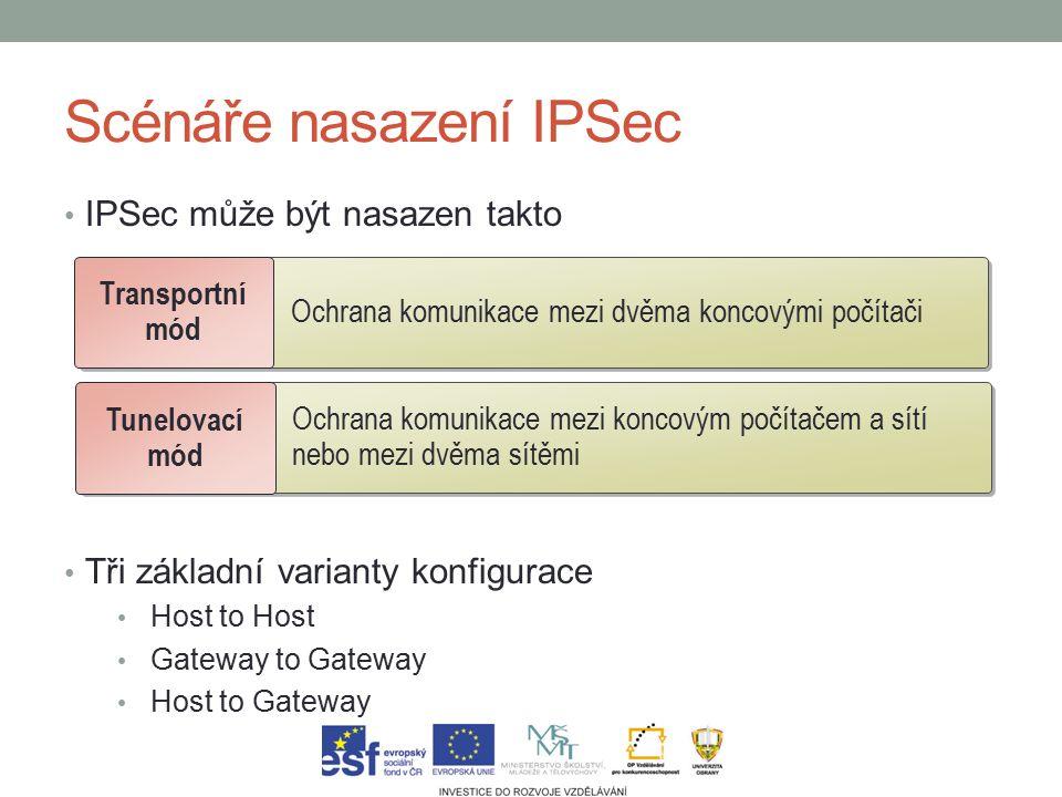 Scénáře nasazení IPSec IPSec může být nasazen takto Tři základní varianty konfigurace Host to Host Gateway to Gateway Host to Gateway Ochrana komunikace mezi dvěma koncovými počítači Transportní mód Ochrana komunikace mezi koncovým počítačem a sítí nebo mezi dvěma sítěmi Tunelovací mód