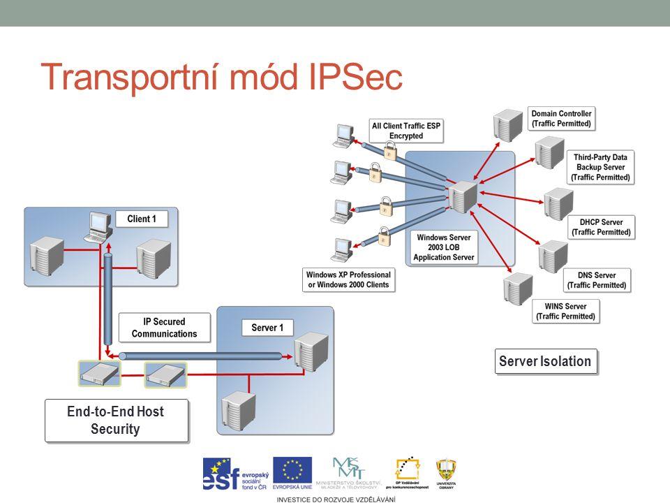 Transportní mód IPSec Server Isolation End-to-End Host Security