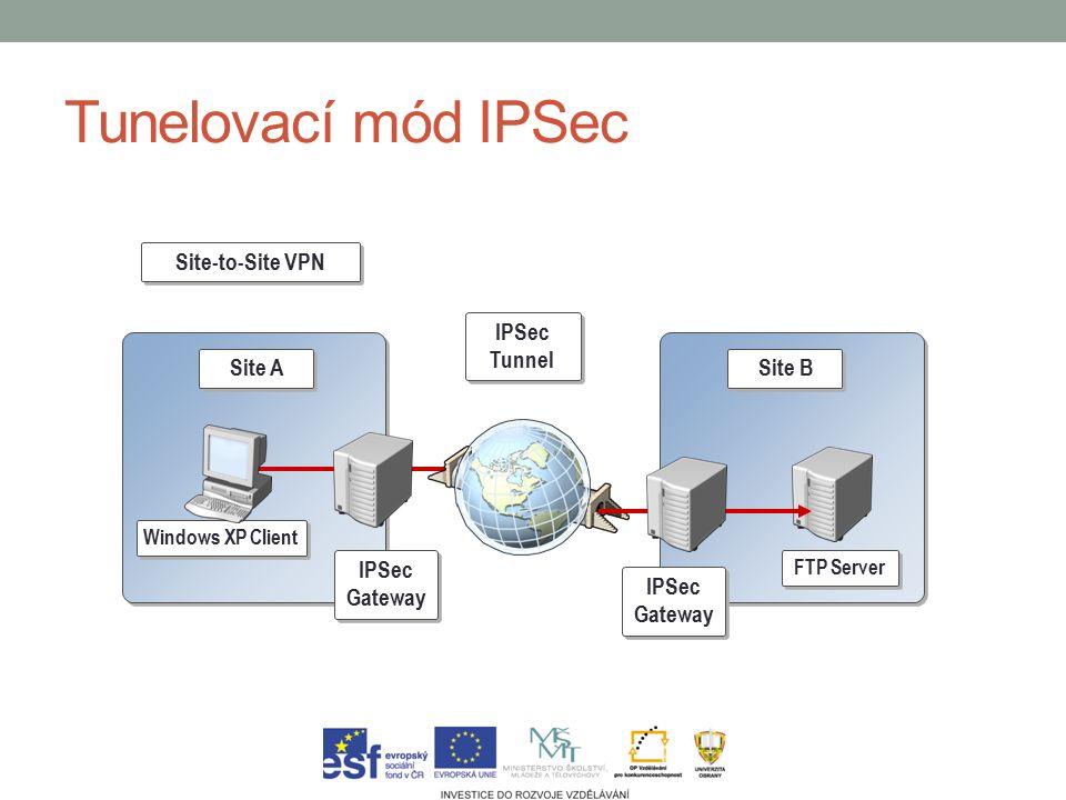 Implementace a konfigurace IPSec Microsoft Windows (od verze 2000) MS Management Console (MMC) Snap-in modul pro správu IP bezpečnosti Nastavení obecných pravidel (IKE – doby platností, šifrovací algoritmy atd.) Nastavení pravidel