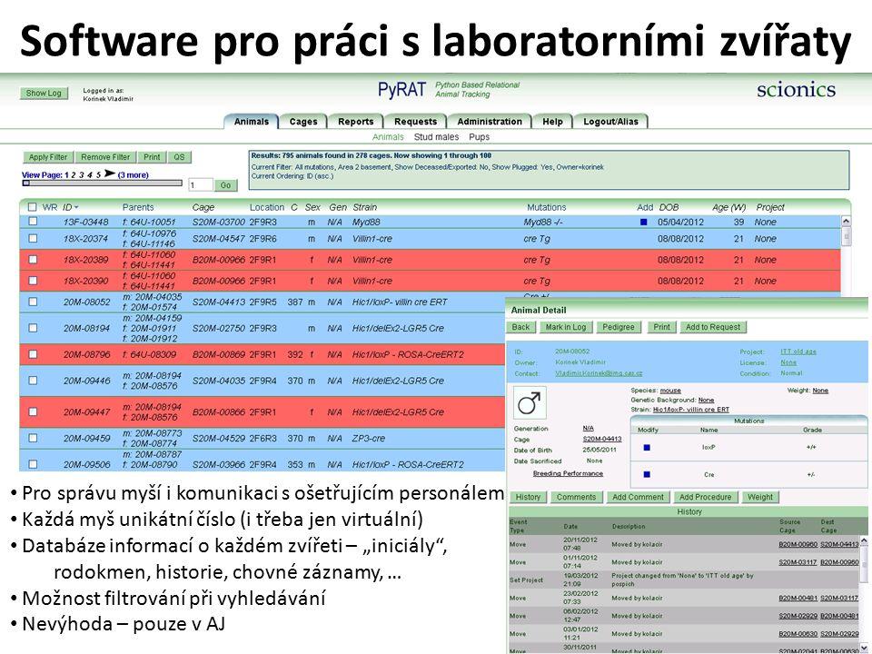 """Software pro práci s laboratorními zvířaty Pro správu myší i komunikaci s ošetřujícím personálem Každá myš unikátní číslo (i třeba jen virtuální) Databáze informací o každém zvířeti – """"iniciály , rodokmen, historie, chovné záznamy, … Možnost filtrování při vyhledávání Nevýhoda – pouze v AJ"""