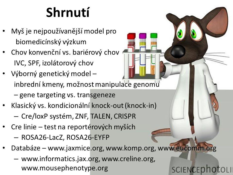 Shrnutí Myš je nejpoužívanější model pro biomedicínský výzkum Chov konvenční vs.