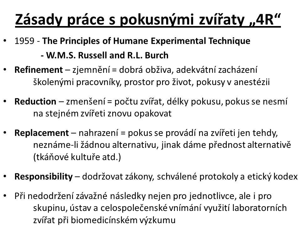 """Zásady práce s pokusnými zvířaty """"4R 1959 - The Principles of Humane Experimental Technique - W.M.S."""