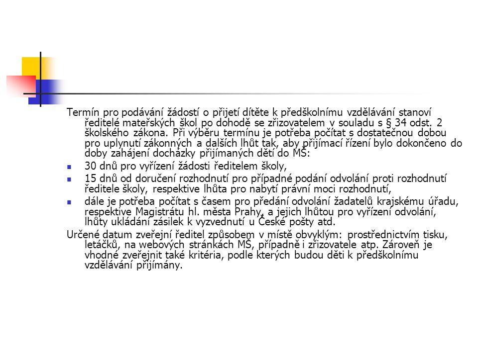 Termín pro podávání žádostí o přijetí dítěte k předškolnímu vzdělávání stanoví ředitelé mateřských škol po dohodě se zřizovatelem v souladu s § 34 odst.