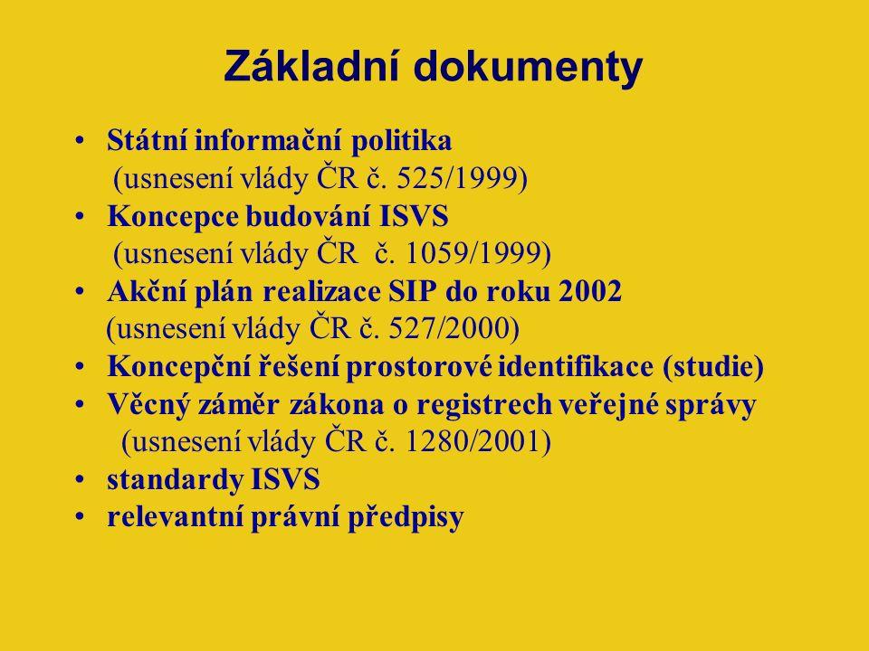Základní dokumenty Státní informační politika (usnesení vlády ČR č.