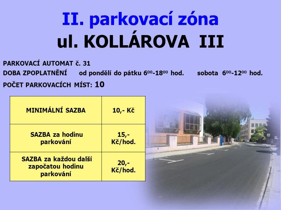 ul. KOLLÁROVA III II. parkovací zóna PARKOVACÍ AUTOMAT č. 31 DOBA ZPOPLATNĚNÍ od pondělí do pátku 6 00 -18 00 hod. sobota 6 00 -12 00 hod. MINIMÁLNÍ S