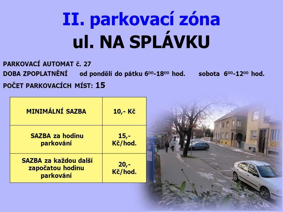 ul. NA SPLÁVKU II. parkovací zóna PARKOVACÍ AUTOMAT č.