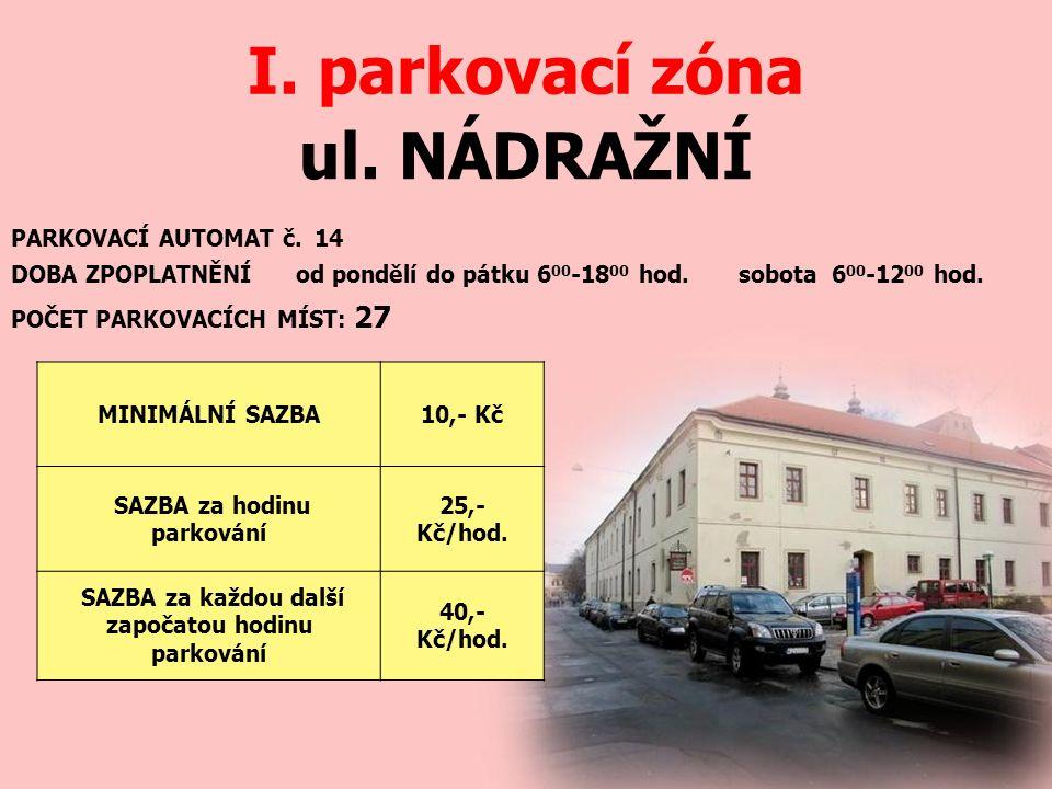ul. NÁDRAŽNÍ I. parkovací zóna PARKOVACÍ AUTOMAT č.