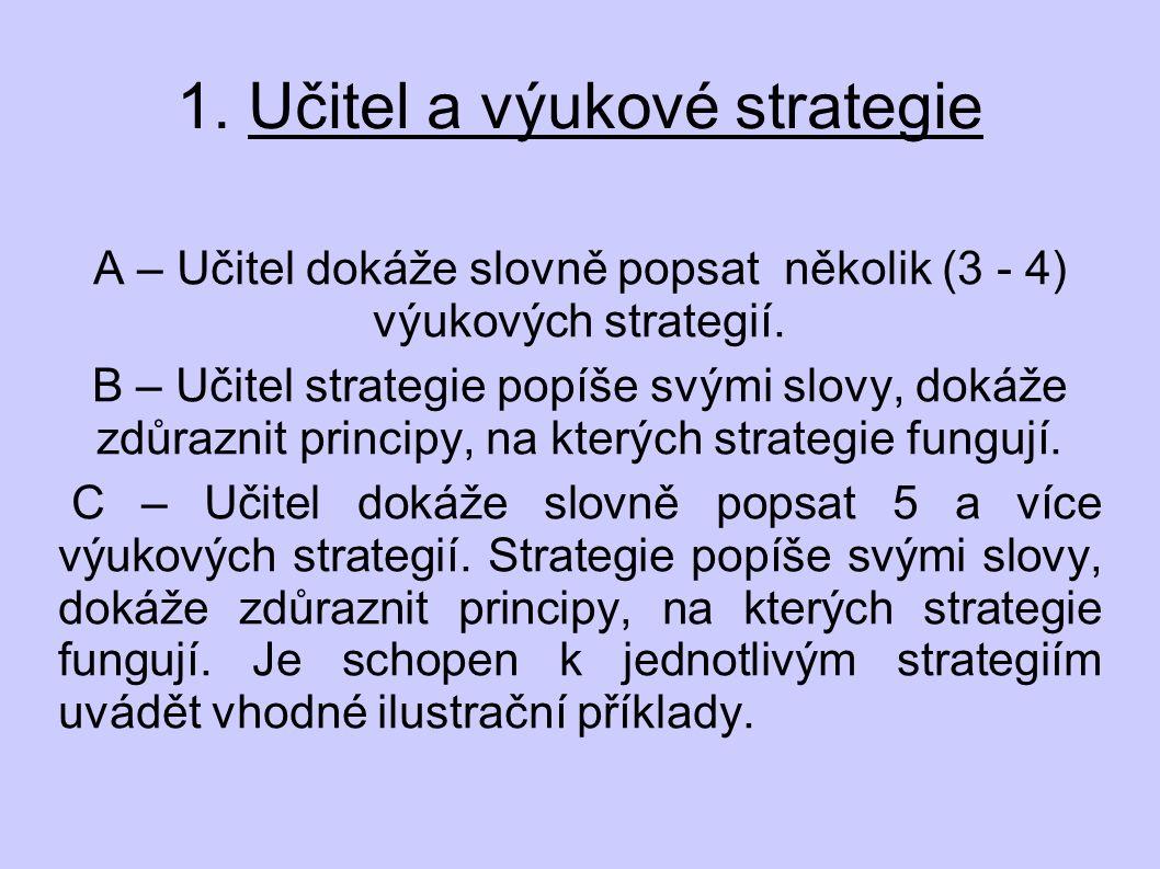 1. Učitel a výukové strategie A – Učitel dokáže slovně popsat několik (3 - 4) výukových strategií.