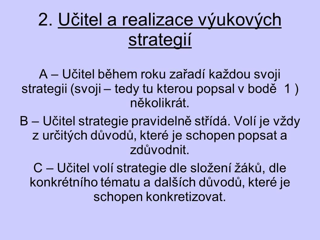 2. Učitel a realizace výukových strategií A – Učitel během roku zařadí každou svoji strategii (svoji – tedy tu kterou popsal v bodě 1 ) několikrát. B