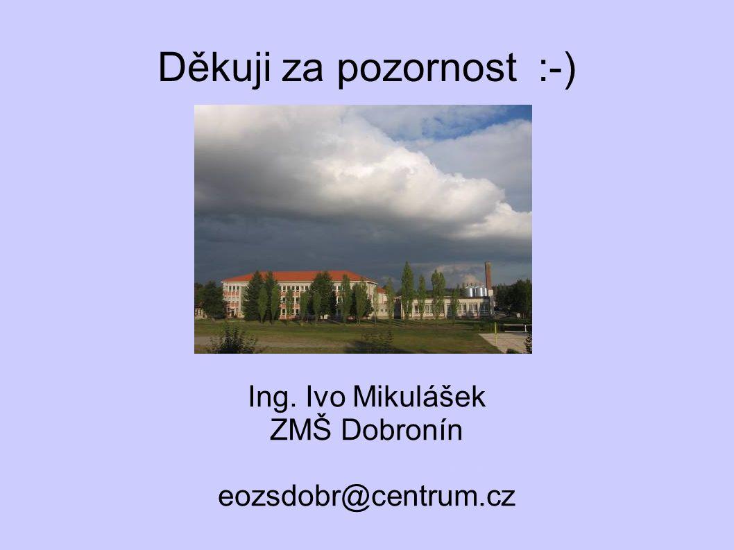 Děkuji za pozornost :-) Ing. Ivo Mikulášek ZMŠ Dobronín www.skola-dobronin.cz eozsdobr@centrum.cz