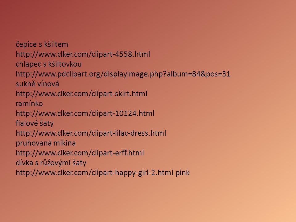 čepice s kšiltem http://www.clker.com/clipart-4558.html chlapec s kšiltovkou http://www.pdclipart.org/displayimage.php?album=84&pos=31 sukně vínová ht