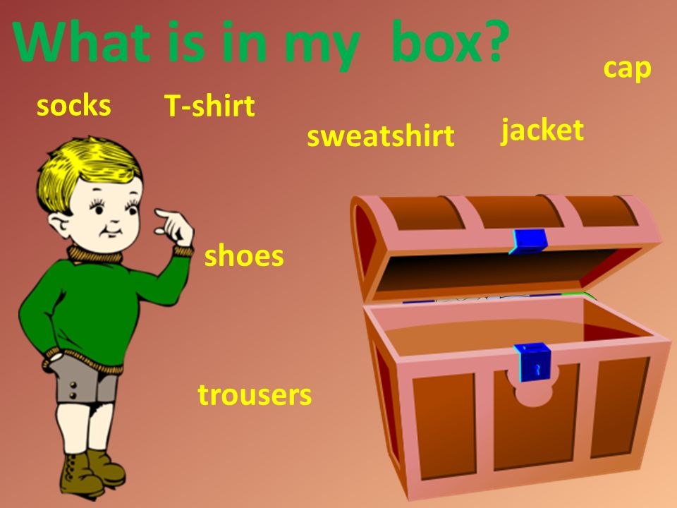 What is in my box T-shirt trousers sweatshirt jacket shoes cap socks