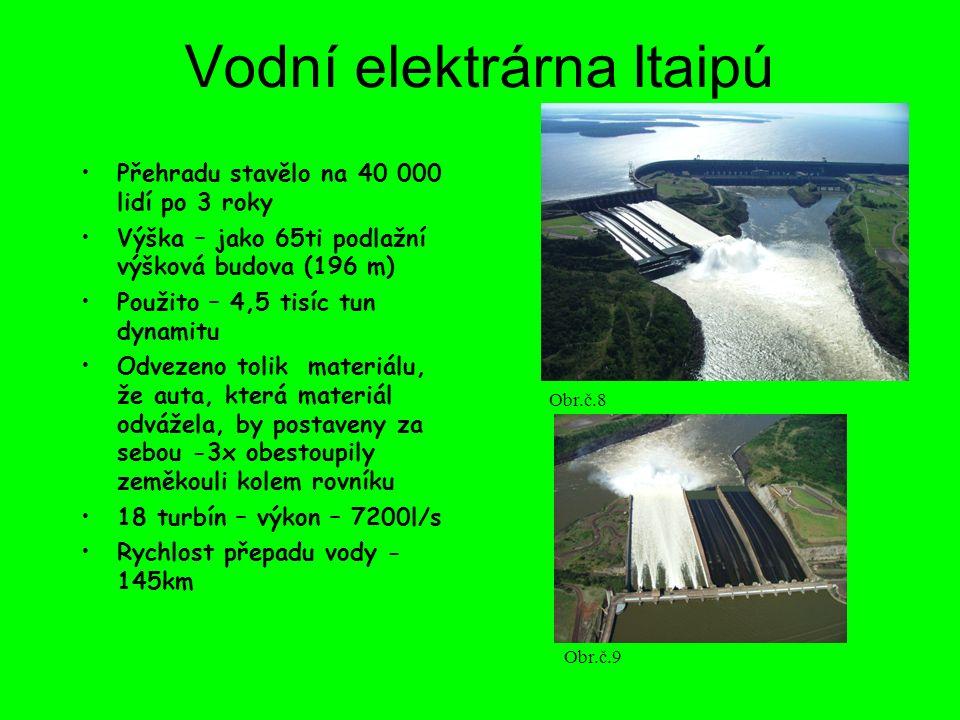 Vodní elektrárna Itaipú Přehradu stavělo na 40 000 lidí po 3 roky Výška – jako 65ti podlažní výšková budova (196 m) Použito – 4,5 tisíc tun dynamitu O
