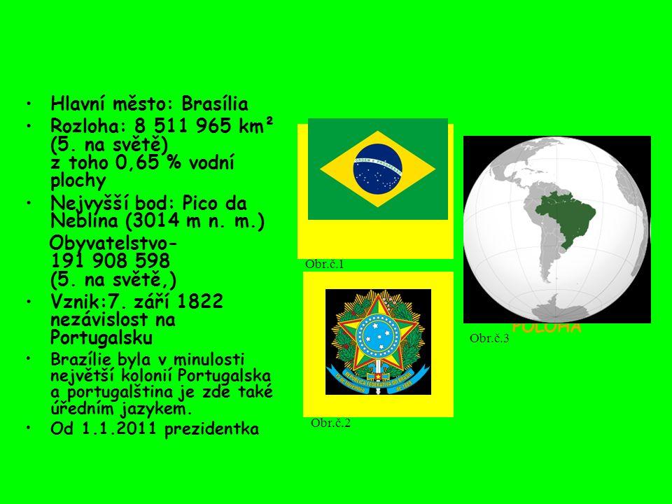 Hlavní město: Brasília Rozloha: 8 511 965 km² (5. na světě) z toho 0,65 % vodní plochy Nejvyšší bod: Pico da Neblina (3014 m n. m.) Obyvatelstvo- 191