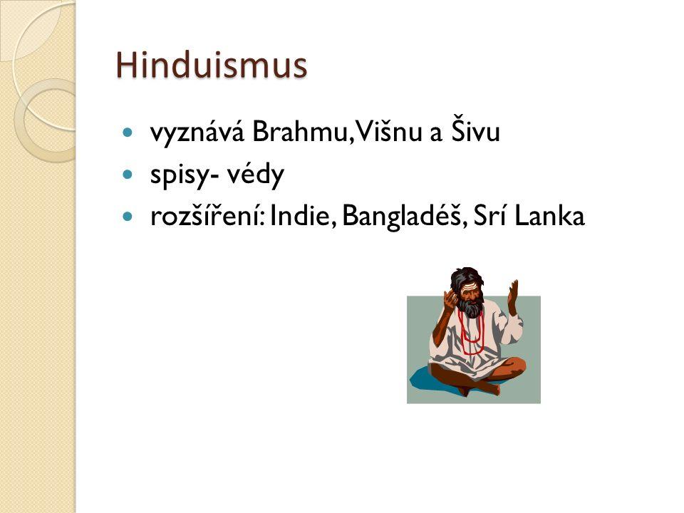 Hinduismus vyznává Brahmu, Višnu a Šivu spisy- védy rozšíření: Indie, Bangladéš, Srí Lanka