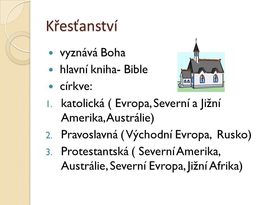 Křesťanství vyznává Boha hlavní kniha- Bible církve: 1. katolická ( Evropa, Severní a Jižní Amerika, Austrálie) 2. Pravoslavná ( Východní Evropa, Rusk