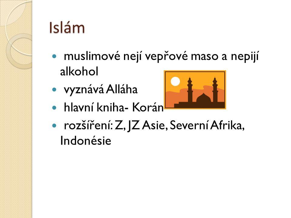 Islám muslimové nejí vepřové maso a nepijí alkohol vyznává Alláha hlavní kniha- Korán rozšíření: Z, JZ Asie, Severní Afrika, Indonésie