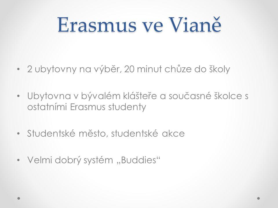"""Erasmus ve Vianě 2 ubytovny na výběr, 20 minut chůze do školy Ubytovna v bývalém klášteře a současné školce s ostatními Erasmus studenty Studentské město, studentské akce Velmi dobrý systém """"Buddies"""