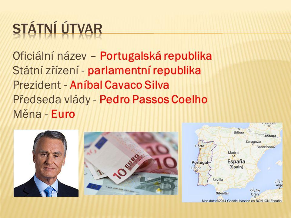 Oficiální název – Portugalská republika Státní zřízení - parlamentní republika Prezident - Aníbal Cavaco Silva Předseda vlády - Pedro Passos Coelho Měna - Euro