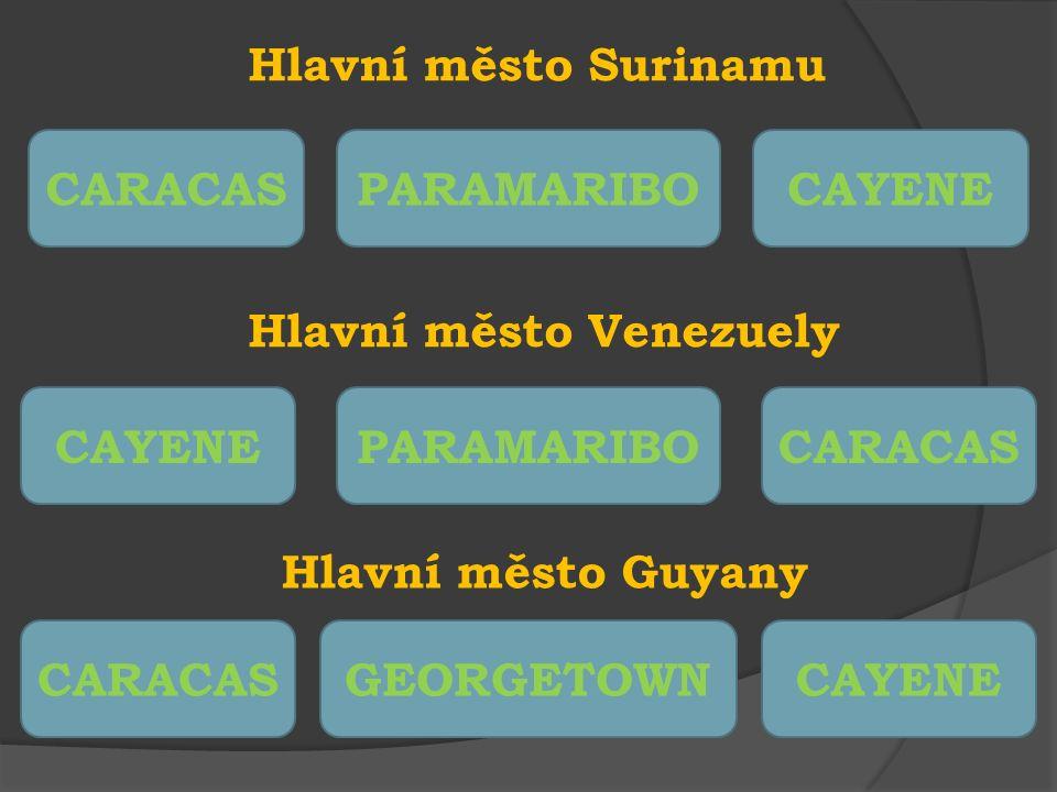 Evropské město, podle kterého dostala Venezuela název PAŘÍŽBENÁTKYLONDÝN Úřední jazyk platný v Guyaně ANGLIČTINAŠPANĚLŠTINAČEŠTINA Měna platná ve Francouzské Guyaně EUROPESODOLAR