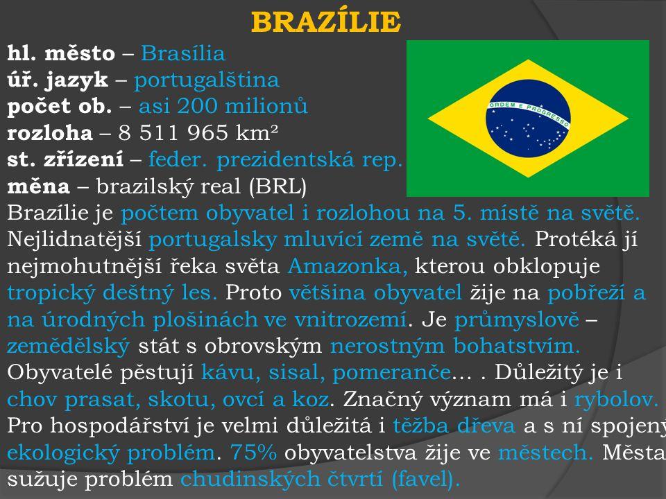 BRAZÍLIE hl.město – Brasília úř. jazyk – portugalština počet ob.