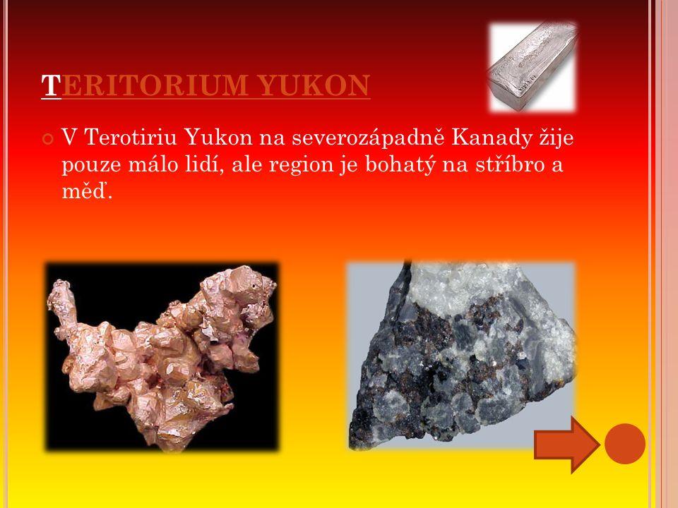 TERITORIUM YUKON V Terotiriu Yukon na severozápadně Kanady žije pouze málo lidí, ale region je bohatý na stříbro a měď.