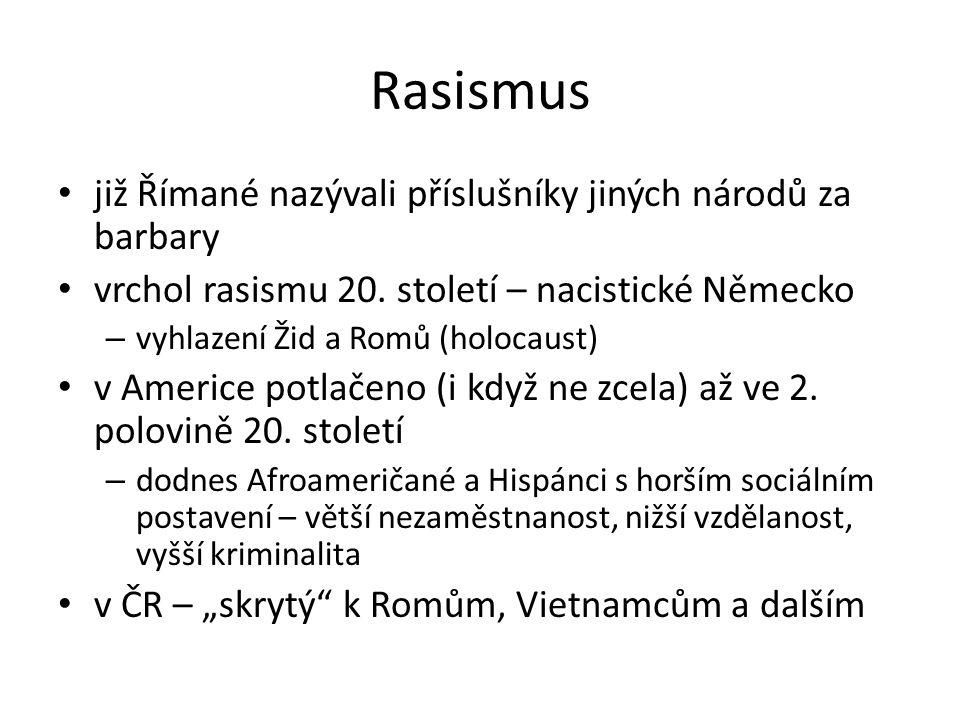 Rasismus již Římané nazývali příslušníky jiných národů za barbary vrchol rasismu 20.