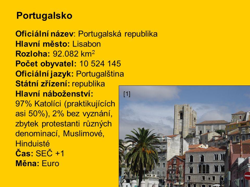Portugalsko Oficiální název: Portugalská republika Hlavní město: Lisabon Rozloha: 92.082 km 2 Počet obyvatel: 10 524 145 Oficiální jazyk: Portugalština Státní zřízení: republika Hlavní náboženství: 97% Katolíci (praktikujících asi 50%), 2% bez vyznání, zbytek protestanti různých denominací, Muslimové, Hinduisté Čas: SEČ +1 Měna: Euro [1]